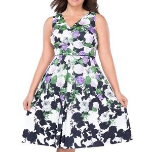 Talbots Oprah Dress Hydrangea  Floral Dress 18W